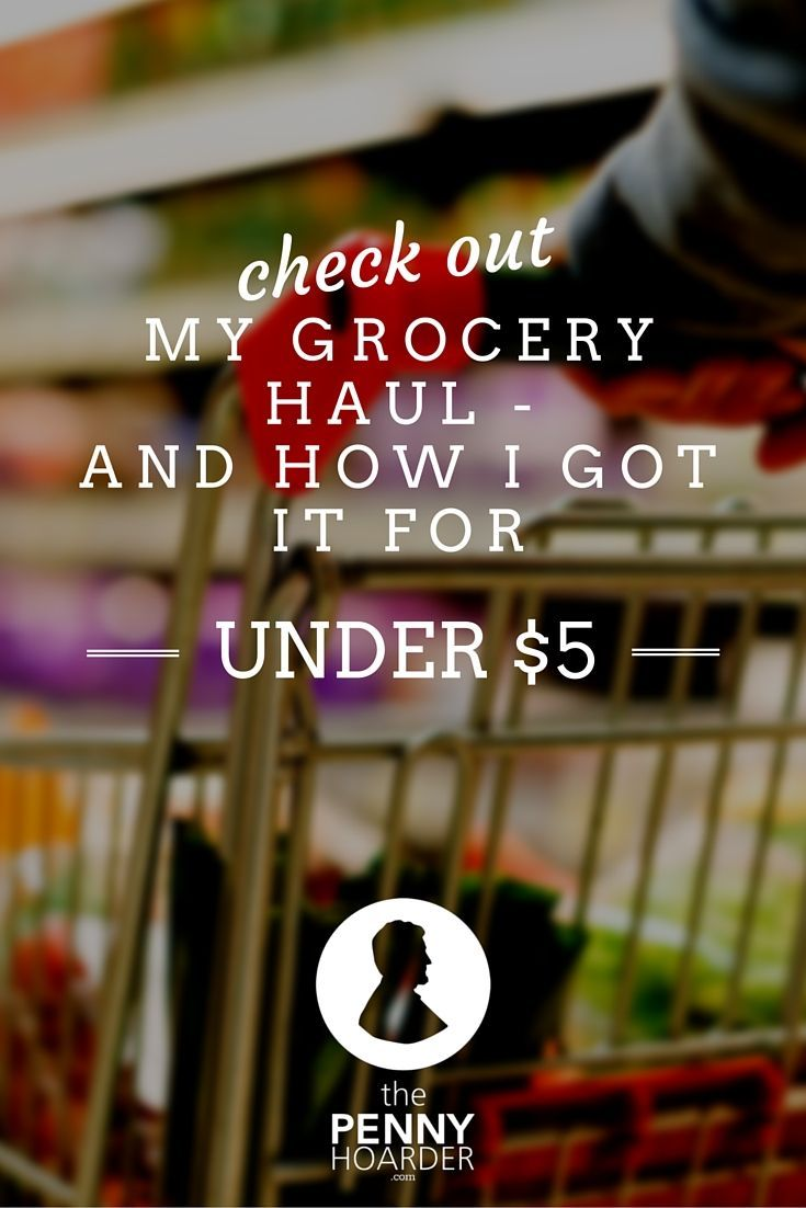 Check Out My Grocery Haul & How I Got It For Under $5! - The Penny Hoarder - http://www.thepennyhoarder.com/grocery-haul-under-5/