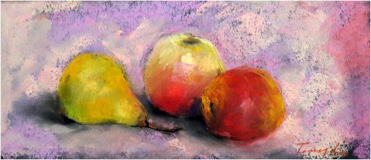 Gyümölcsös csendélet Fruit still life Pasztell , papír  16 c38 cm