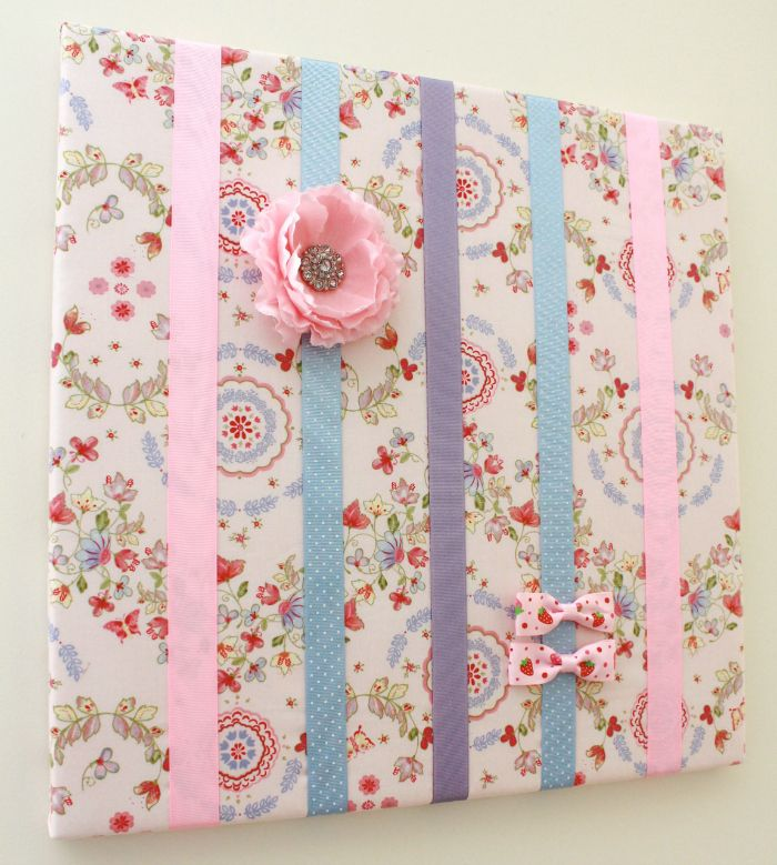 How to make a hair bow holder on a canvas - Sew McCool - such a cute and useful decoration for a girl's room!