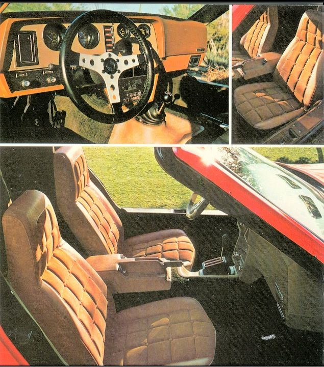 Group of photos of auto interiors from Bricklin's 1975 SV-1 sales brochure.