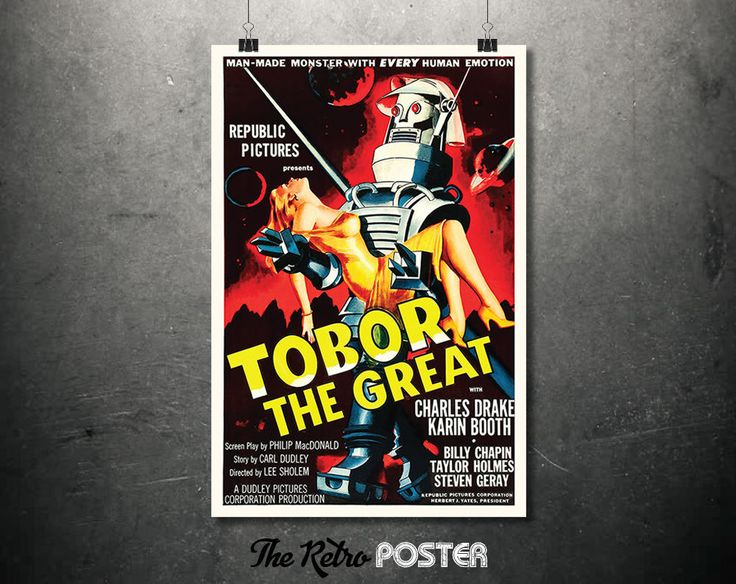 Tobor The Great - Movie Poster - 1954, Sci Fi, Robot Print, Space Poster, Film Poster, Film Prints, Old Movie Posters, Vintage Prints by TheRetroPoster on Etsy