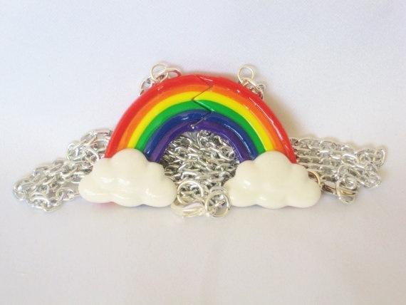 BFF rainbow polymer clay charm