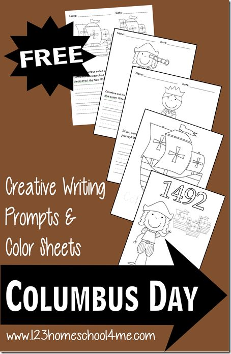 FREE - Columbus Day Writing Prompts and Coloring Sheets