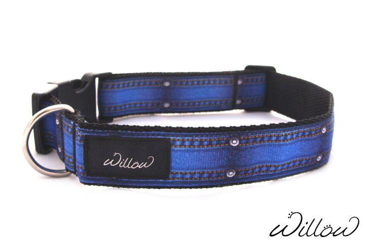 S M Blue Denim Pattern Dog Collar Designer Handmade Adjustable NEW Small Medium #BorderCollie #AustralianShepherd #MediumBreedDogs #Spaniel #PetCollars