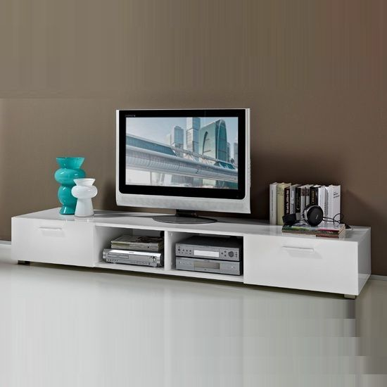 Genie Low Plasma TV Stand In White High Gloss With 2 Drawer