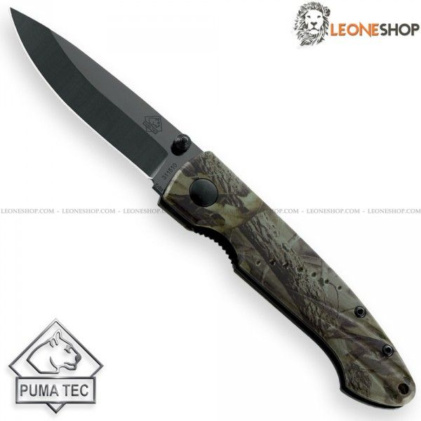 "PUMA TEC Folding Knife 311510, edc pocket folding knives with Zirconium Ceramic blade of high quality - Blade lenght 2.7"" - Handle made with two steel liners, Oak Camouflage Aluminum inserts - Liner Lock system - Back Clip - Overall lenght 6.5"" ​​- Design by Puma Tec Solingen - PUMA TEC edc pocket folding ceramic knife really exceptional with quality materials, technical and excellent design, superior quality in all the components and also in the finishes."