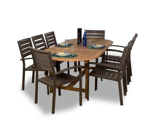 Amazonia Teak Ancara 9 Piece Teak/Faux Wood Oval Dining Set By Amazonia Teak