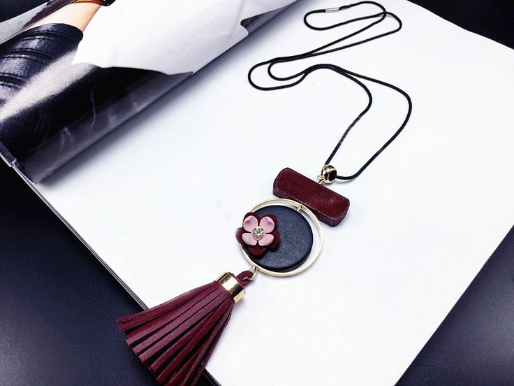 Rosalind Geometric Leather Tassel Pendant Necklace - Red www.evcostudio.online