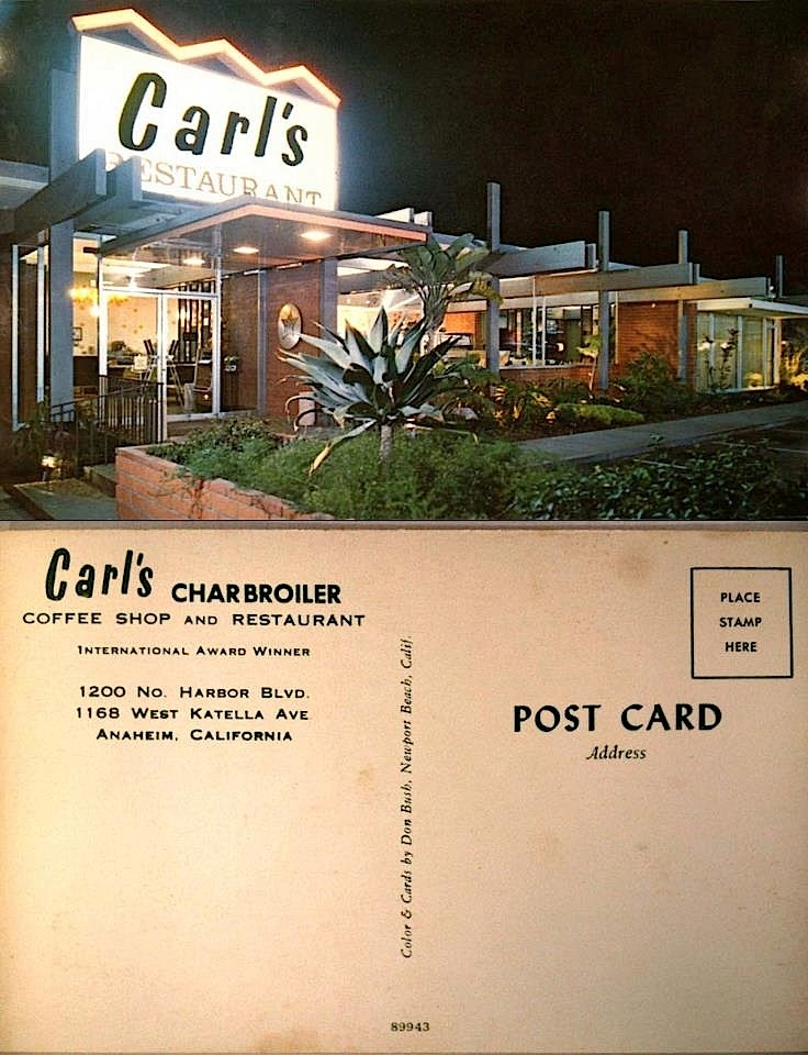 Carl's Charbroiler Coffee Shop & Restaurant.  Believe the image on the card is of the location on Katella Ave. Anaheim, California. I worked here for a couple of years in the early to mid 1980s. Mr. Karcher and his wife came in several times while I was there. They were always kind and shook my hand.