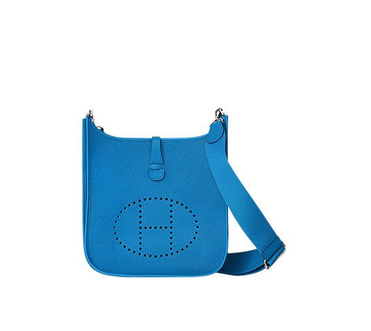 """Evelyne III 29 Hermes shoulder bag in taurillon Clemence leather (size PM) Measures 11.25"""" x 12"""" x 2.5"""" Perforated leather plaque, outside pocket and leather tab closure. Adjustable strap from 36"""" to 52"""" Palladium plated hardware Color : bleu Zanzibar"""