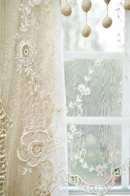 French Lace curtains - oh my.....I have french lace in two bedrooms. I love them so much, they're beautiful on walls with enough color to contrast.
