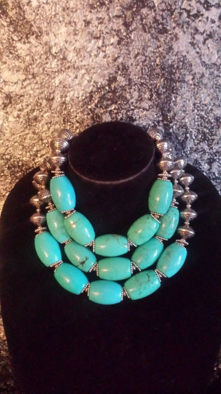Bold Chunky Turquoise Magnesite Statement Necklace 3 Strand Necklace IRIS APFEL Ethnic Boho Chic Urban Tribal Gypsy Soul TIBETAN Jewelry by KATROXWEARATTITUDE on Etsy