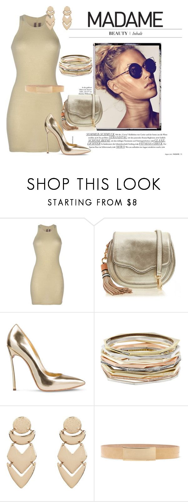"""golden summer #19"" by tinkabella222 ❤ liked on Polyvore featuring DRKSHDW, Rebecca Minkoff, Casadei, Kendra Scott, New Look and Jimmy Choo"