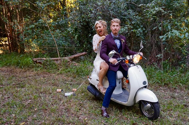 Wedding scooter at a woodland ceremony
