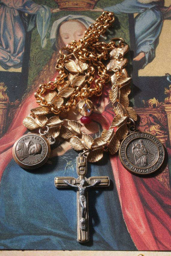Reliquary necklace Religious assemblage Vintage by IRISHTREASURE