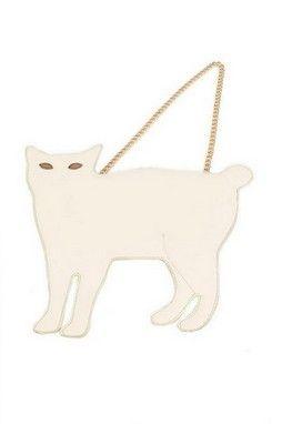 GrabMyLook Cat Shape Gold Metal Chain Faux Leather Handbag Party Strap Bag