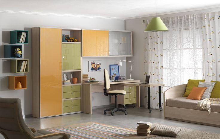 Подростковая комната с кроватью с подъёмным механизмом   Дизайн интерьера современной детской  #астрон #мебель #astron #подростковые #детские