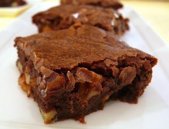 Katharine Hepburn brownies-This recipe accompanied a 1975 Ladies Home Journal interview with Katherine Hepburn and was revitalized by Saveur.  These brownies are amazing. (I encountered these at a backyard BBQ about 30 years ago. Within minutes of tasting one, I seriously considered grabbing the brownies and running.  They are that good.  But I restrained myself and hunted down the donor. I got the recipe and I have been making them ever since.  Just don't over bake them. They must be gooey…