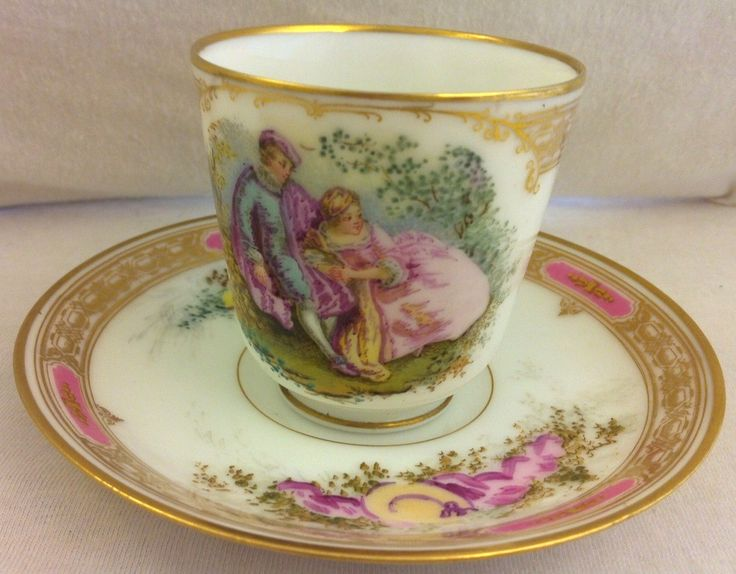 J Pouyat J P L Limoges France Demitasse Cup And Saucer Handpainted Couple Photo Gallery