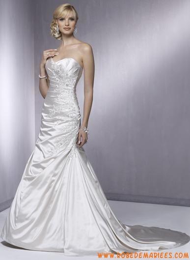Robe A-ligne bustier en satin ornée de broderies et de perles robe de mariée collection