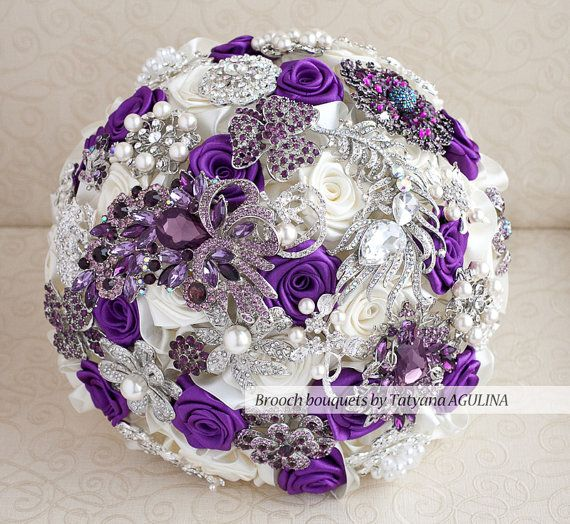 Brooch bouquet. Purple Ivory and silver by MagnoliaHandmade