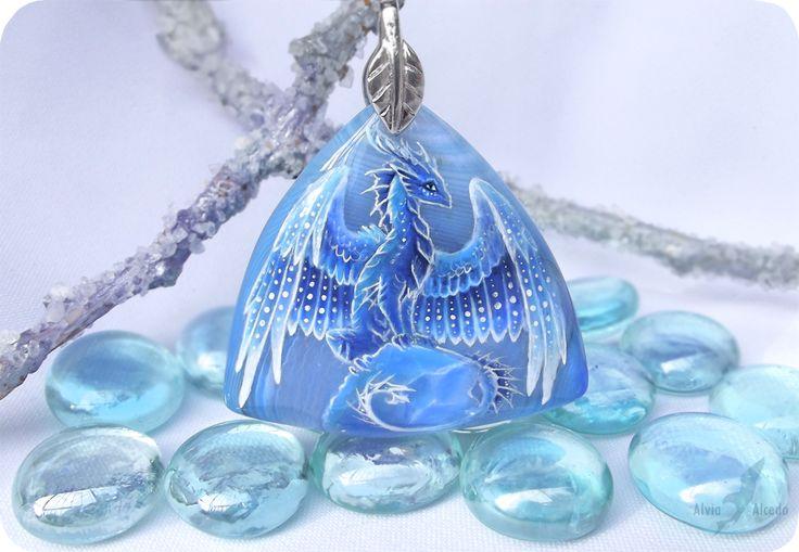 Ice dragon - stone painting necklace by AlviaAlcedo.deviantart.com on @deviantART