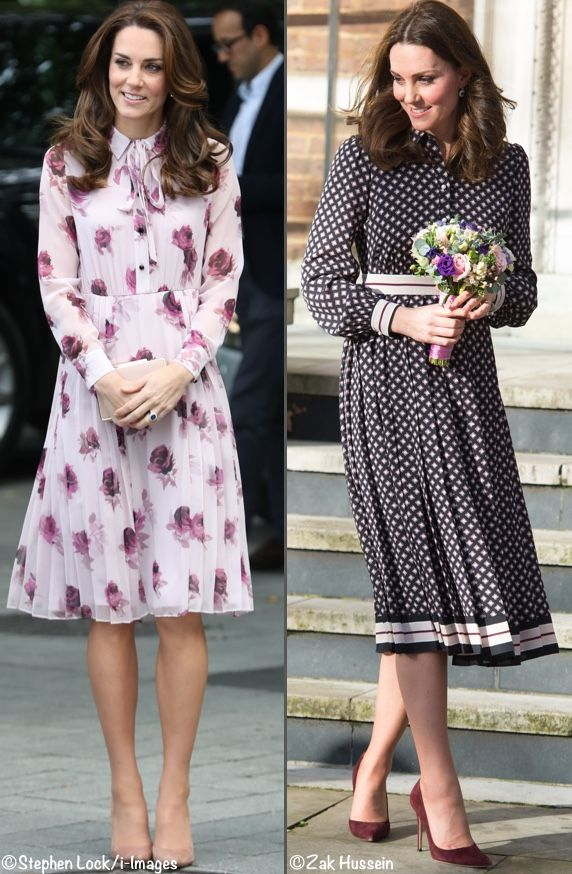 Comparison photo, Duchess Catherine in Kate Spade dresses. Right picture - November 2017, pregnant with 3rd child