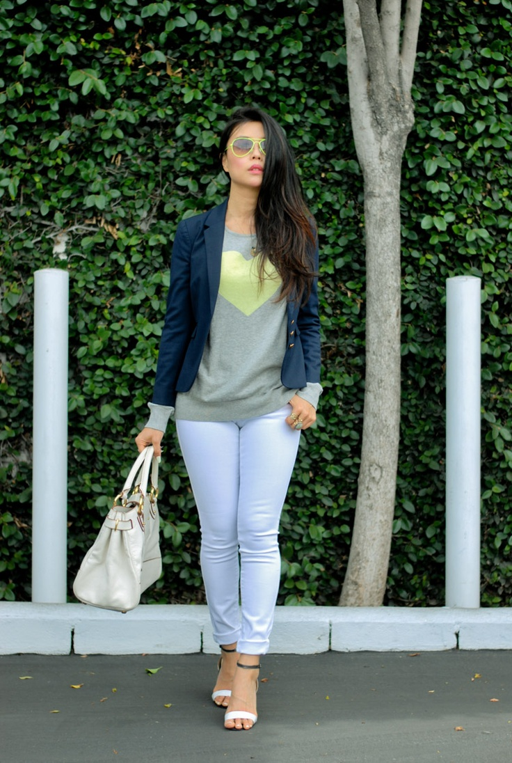white jeans navy blazer outfit style blog