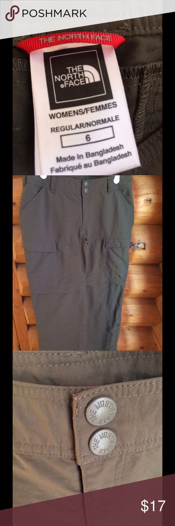 North Face fatigue green pants Like new North Face fatigue green hiking pants size 6. Zip off legs. Four front pockets; two slash, two Velcro flap pockets. Lower leg ring on each leg for rolling up. North Face Pants Track Pants & Joggers