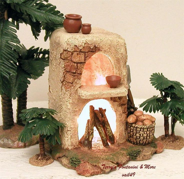 "FONTANINI ITALY 5"" LIGHTED FIREPLACE 2003 NATIVITY VILLAGE ACCESS 56516 MINT #Fontanini"