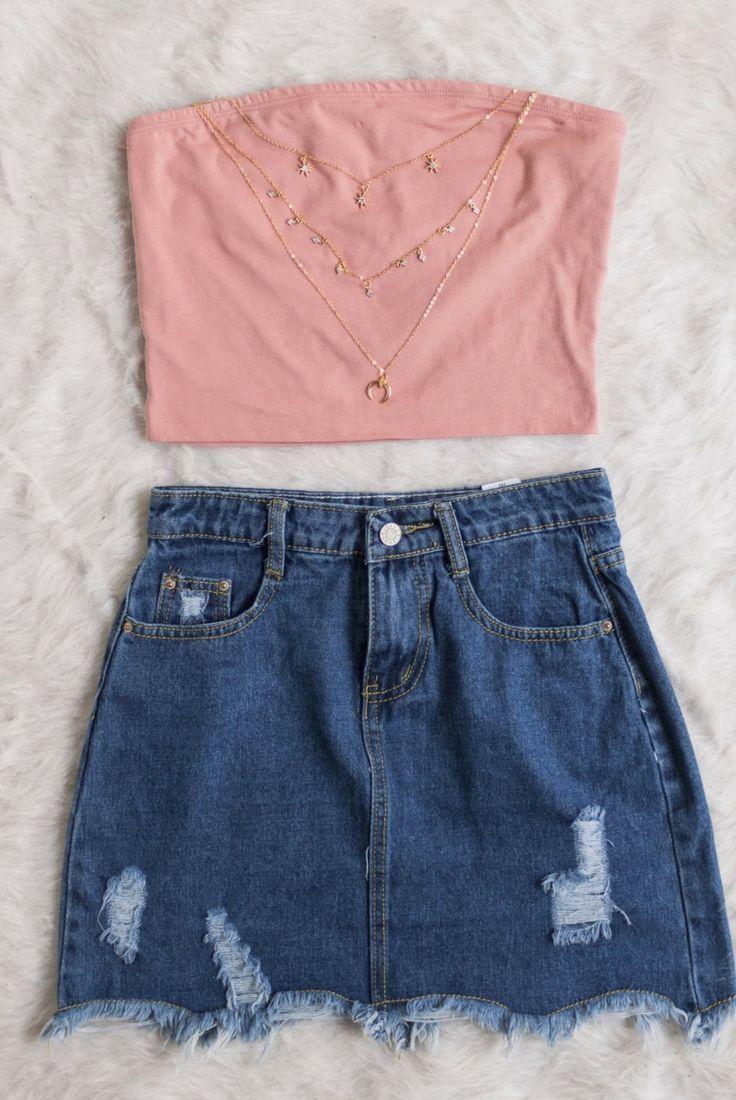 concha de colheita rosa, salmão, sem alças, concha de tubo, camisa, história …   – looks