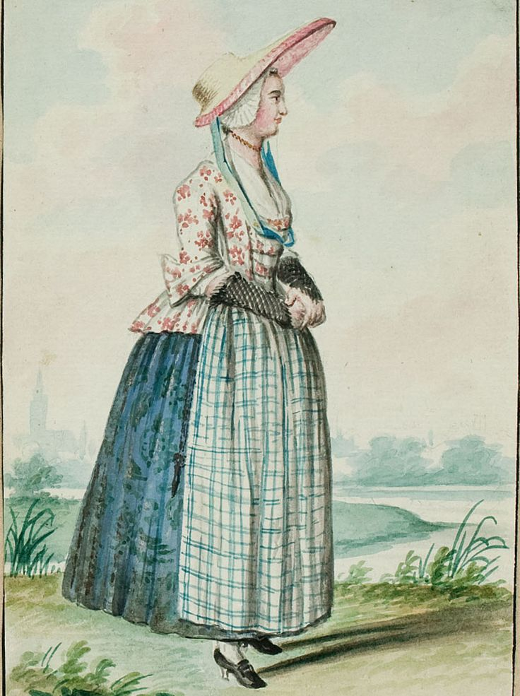 "1770s - 18th century - woman's outfit with mixed print fabrics (jacket in floral, skirt in a different floral, apron in plaid) - From ""An album containing 90 fine water color paintings of costumes."" Turin : [s.n.] , [ca.1775]. In the collection of the Bunka Fashion College in Japan. Underneath the illustration is handwritten in pencil ""Dutch.""  - Netherlands"