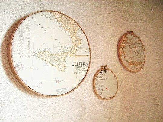 """10 Unconventional Map Decor Ideas~ """"Use an untraditional frame We're pretty big fans of anything framed in an embroidery hoop, and these maps great a fun wall decor item when combined with hoops."""""""