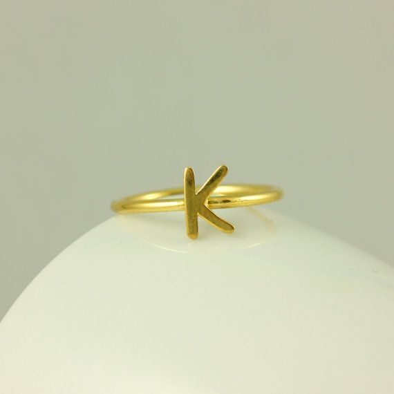 Custom Initial Ring, Gold Letter Ring, Personalized Jewelry, Stacking Ring, Gold Fill Ring, Birthday Gift, Elegant Ring, Gift for Her, 0201