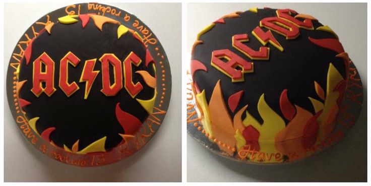 AC DC Cake #acdc #music #fondant #flames