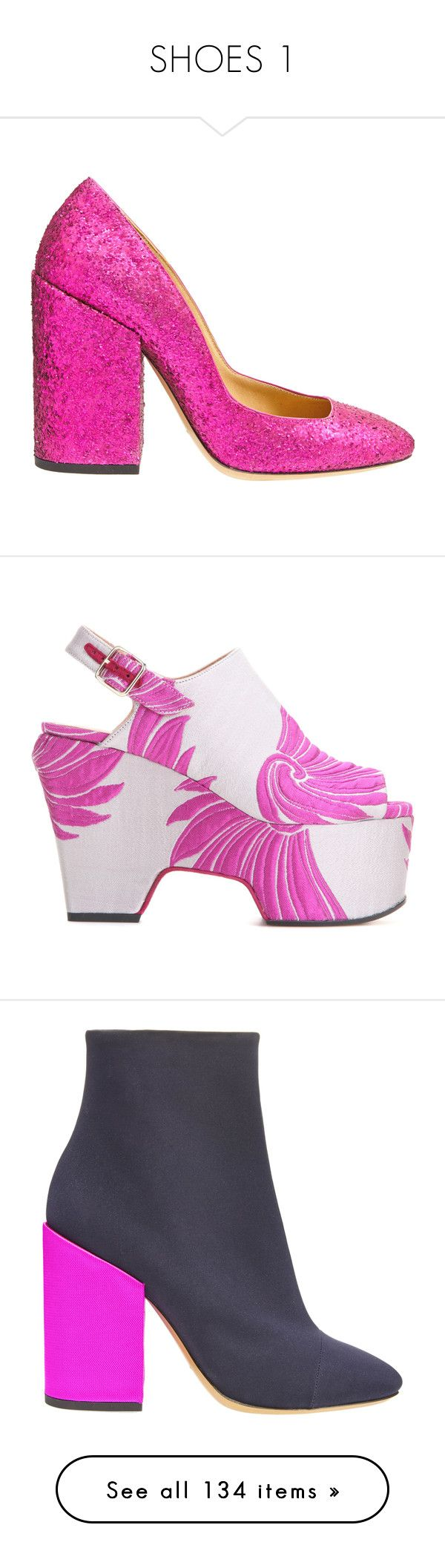 """""""SHOES 1"""" by tamara-40 ❤ liked on Polyvore featuring shoes, pumps, fuchsia, dries van noten shoes, dries van noten pumps, sparkly pumps, fuschia shoes, high heel shoes, sandals and white sandals"""