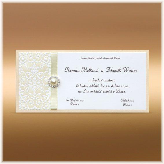 Luxusní svatební oznámení s reliéfním ornamentem, broží a stuhou SK358