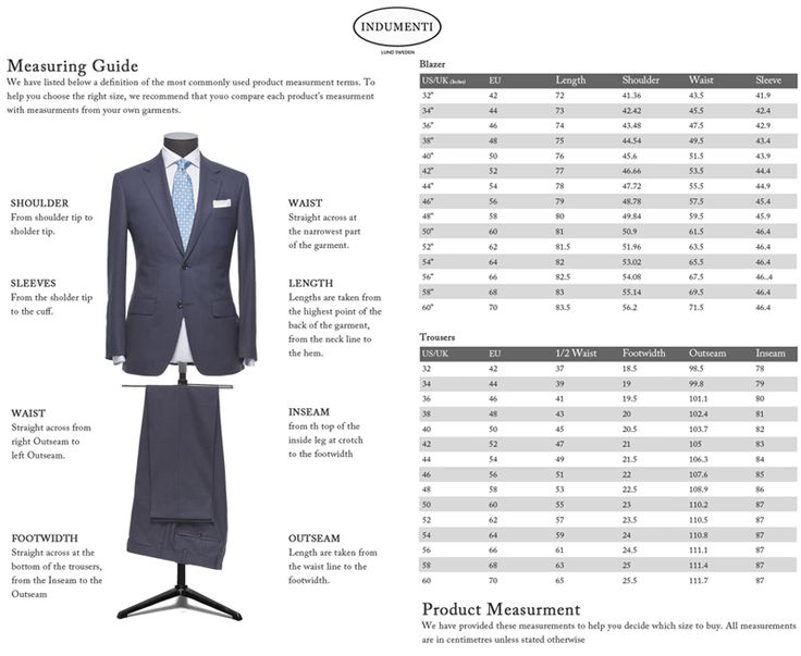 Before you buy a men's suit, you will need to take several measurements for both your jacket and trousers to find the best suit size for you. Taking these measurements beforehand will save you a lot of time when you compare sizes and fits of men's suits.