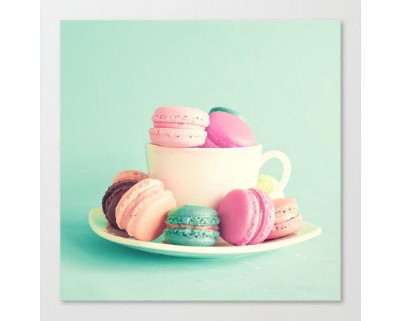 Macaron, maccheroni francesi, menta parete arte, stampe su tela, cucina stampa, cucina arte, stampa, grande parete arte amaretto menta arredamento grandi stampe su tela