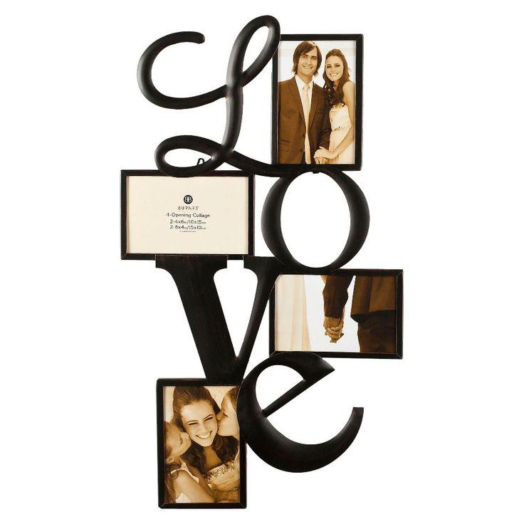 Burnes 4-Opening Venetian Copper Love Collage Frame, Black ... |Love Black Frame