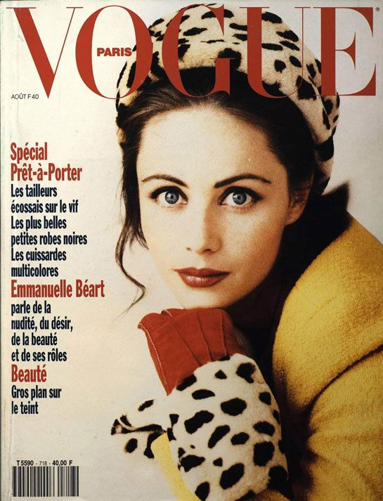 Emmanuelle Béart pour le numéro d'août 1991 de Vogue Paris