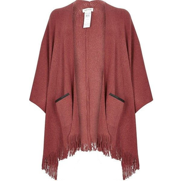 River Island Rust brown fine knitted cape ($70) ❤ liked on Polyvore featuring outerwear, jackets, accessories, brown, capes / ponchos, women, red cape coat, poncho cape, brown poncho and cape coat