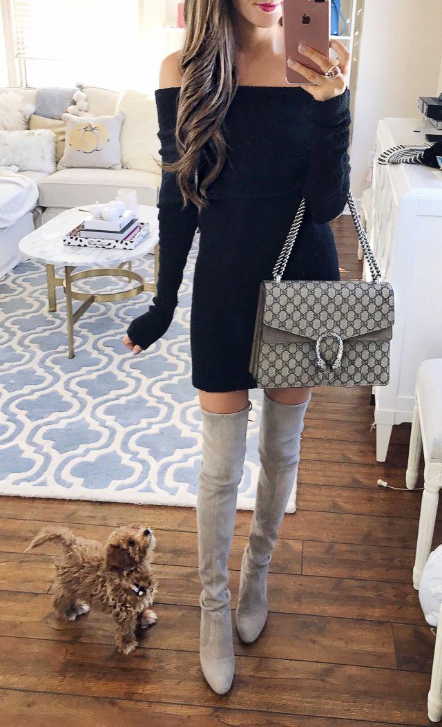 black off-the-shoulder sweater dress, OTK boots, Gucci Dionysus bag