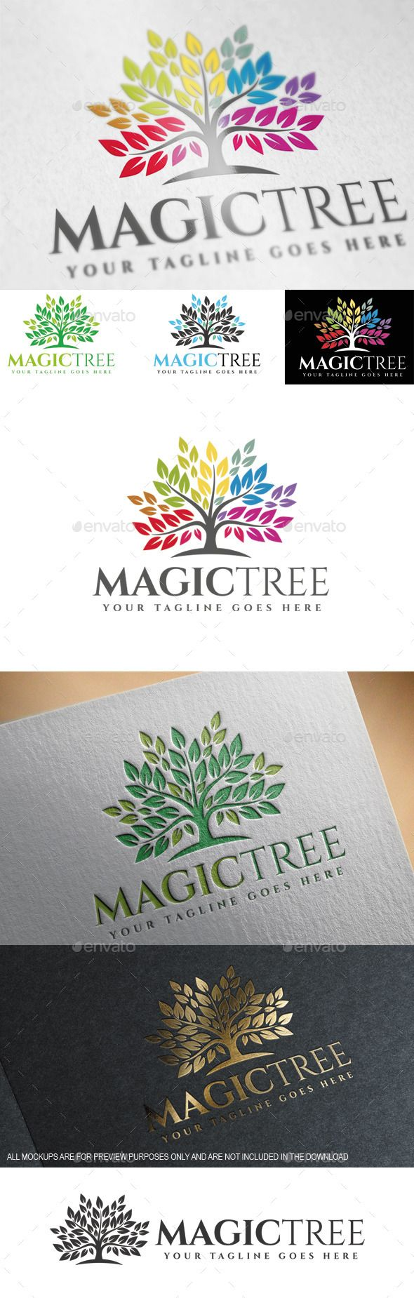 Magic Tree - Logo Design Template Vector #logotype Download it here: http://graphicriver.net/item/magic-tree-logo-template/9695732?s_rank=1552?ref=nesto