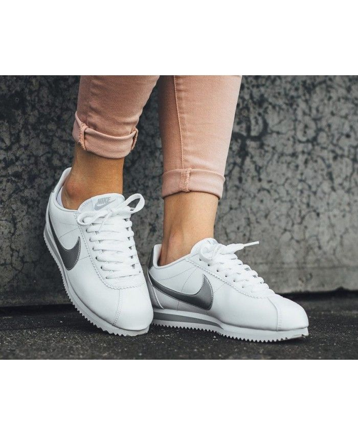 best service 396b3 7383e Nike Classic Cortez Metallic Silver White Trainers Outlet UK