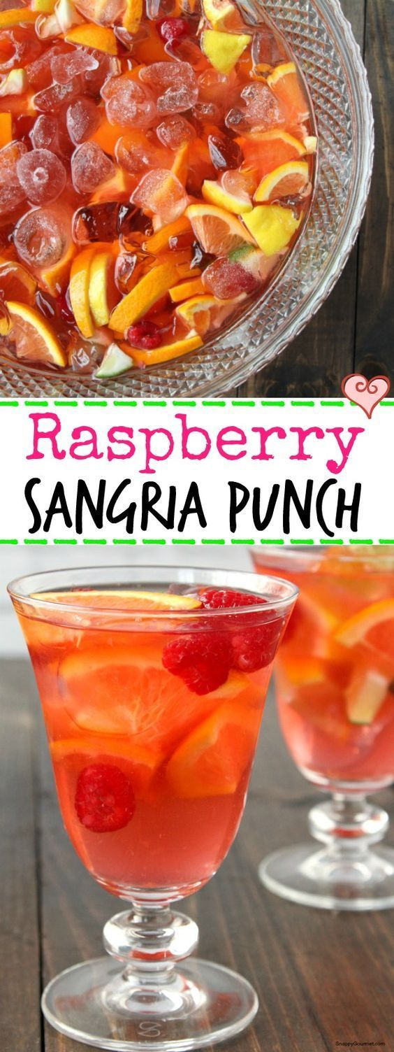 Raspberry Sangria Punch, easy white Sangria recipe perfect for spring and summer parties! http://SnappyGourmet.com  (sponsored)