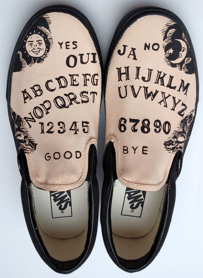 Ouija board themed custom painted shoes. Vans slipons. Have your own customized through my etsy shop at http://www.etsy.com/shop/waffleink