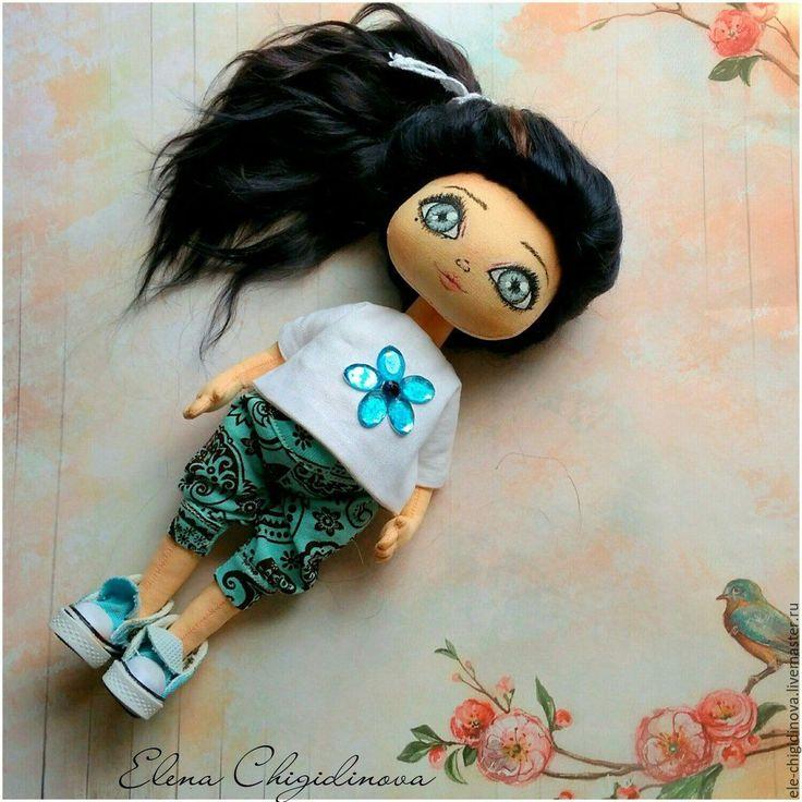 Купить Кукла игровая. Текстильная интерьерная кукла - бирюзовый, кукла, кукла в подарок, кукла из ткани