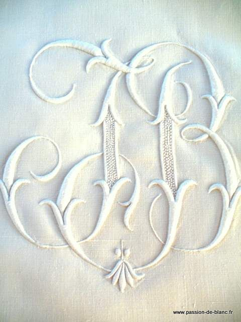 Hand embroidered monogram J B