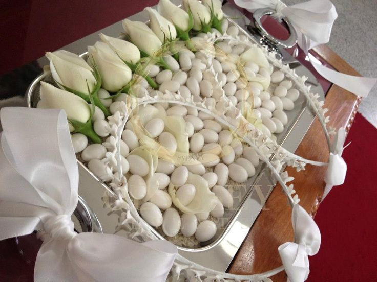 "Greek Orthodox wedding tray with wedding crowns ""stefana"", by Odyssey Events"